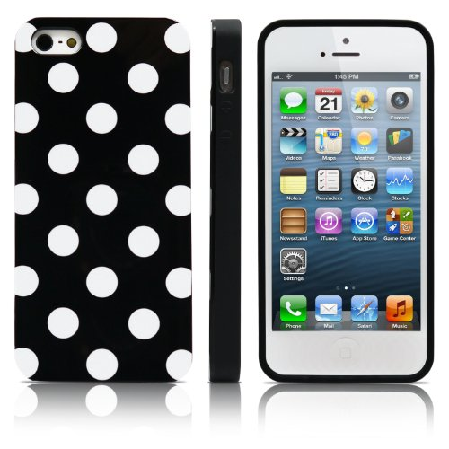 MagicMobile Ultra Slim TPU Polka Dot Pattern Glossy Cover for iPhone 5S/5 - Black/White (Lifeproof Ipod 5 Case Inserts compare prices)