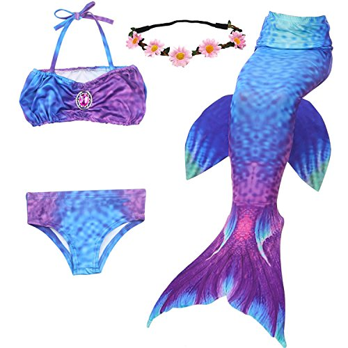 23860d705c4f0 GALLDEALS 3PCS Girls  Swimsuit Mermaid Tail for Swimming Princess Bikini  Set Swimsuit Bathingsuit (No Monofin)