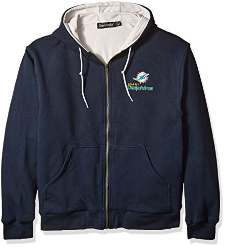 NFL Miami Dolphins Craftsman Full Zip Thermal Hoodie, Navy/Grey, Large (Miami Dolphins Thermal compare prices)