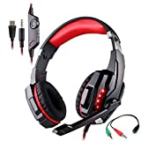 Gaming Headset for PlayStation 4 Tablet PC Mobilephones iPhone 6/6s/6 plus/5s/5c/5  KOTION EACH G9000 3.5mm Over-Ear Headphone with Microphone Volume Control LED Light - Black + Red