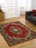 """Large Traditional Red Rug 120 x 160 cm (4' x 5'3"""") Carpet from Lord of Rugs"""