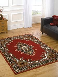 "Large Traditional Red Rug 120 x 160 cm (4' x 5'3"") Carpet from Lord of Rugs"
