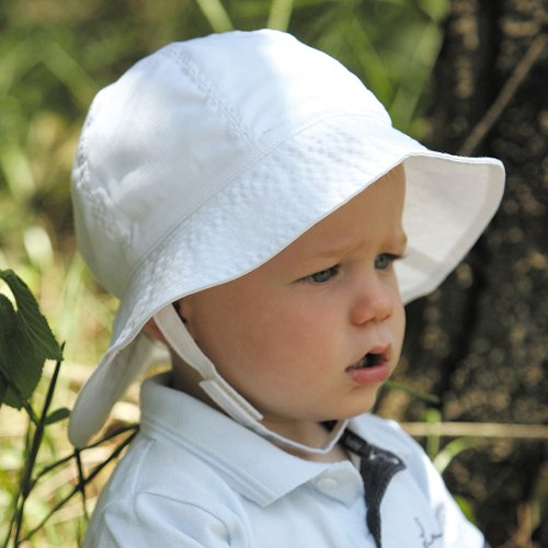 UVカット帽子 - ベビー ハット(ホワイト43cm) 紫外線カット率最高値UPF50+