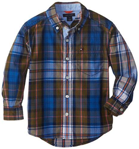 Tommy Hilfiger Little Boys' Long Sleeve Thomas Plaid Shirt, White, 05 Regular