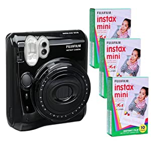 Fujifilm Instax Mini 50 Kit and 3 Fujifilm Instax Mini Film with 10 Exposures FU64-INM50KK30 (Black)