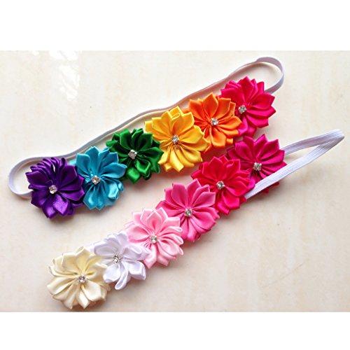 Best Prices! KADIWOW 10pcs Baby Girl Kid Children Rainbow Stretch Flower Lace Trim Boho Headband Hai...