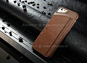 Excelsior Premium Silicon Card Holder cover case for Apple iPhone 6 - Brown
