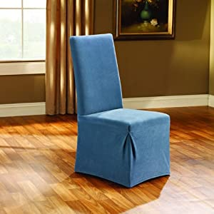 blue dining room chair covers | Amazon.com - Sure Fit Stretch Pique Dining Room Chair ...