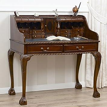 Scrittoio Lady Chippendale secretaire legno noce piano in ecopelle verde Inglese