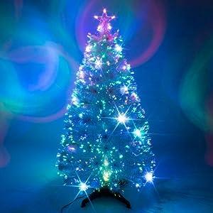 6ft White Artificial Fibre Optic Christmas Xmas Tree with ...