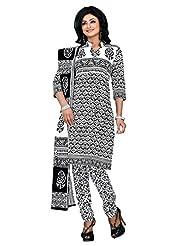 Lacxo White Printed Cotton Dress Material