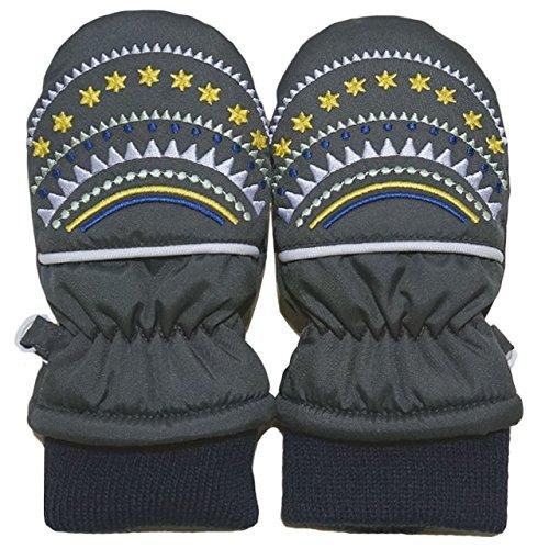 2014年 冬物 星ガーランド刺繍 スノー手袋 ミトン グローブ WARM GLOVES チャコール 1-2才