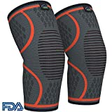 Modvel Compression Knee Sleeve (1 Pair) - Ultra Flexible, Comfortable Knee Brace for Men and Women, Great for All Athletics, Volleyball, ACL, Stabilizer for Arthritis and Knee Pain Relief, M (MV-111) (Color: Orange, Tamaño: Medium (16.2