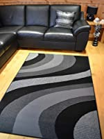 Trend Silver Grey And Black Wave Rug. 8 Sizes Available from Rugs Supermarket
