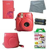 Fujifilm Instax Mini 8 Instant Film Camera (Raspberry) 5 PC Deluxe Bundle Accessory Kit