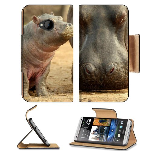 Hippopotamus Animal Mammal Nature Wild African Hippos Baby Htc One M7 Flip Cover Case With Card Holder Customized Made To Order Support Ready Premium Deluxe Pu Leather 5 11/16 Inch (145Mm) X 2 15/16 Inch (75Mm) X 9/16 Inch (14Mm) Liil Htc One Professional front-941886
