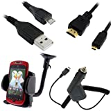 GTMax Black Car Charger + USB Sync Data Cable + Micro HDMI to HDMI Cable + Car Mount Holder for AT&T, Verizon Samsung GALAXY S2 / SII I9100