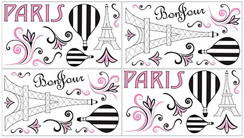 Pink, Black And White Paris French Eifell Tower Baby, Childrens And Kids Wall Decal Stickers By Sweet Jojo Designs - Set Of 4 Sheets