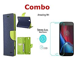 INFINITO (TM) Combo of (Blue Green) Diary Wallet Flip Case Cover & Tempered Glass For HTC Desire 516