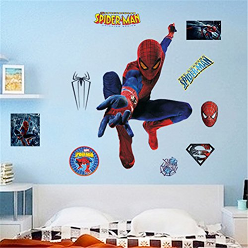 Percimiya Spider-man DIY Removable Vinyl Art Stickers Wall Decals Home Kids Bedroom Living Room Decor