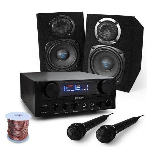 """DJ Set """"Rio Rumble"""" impianto audio completo PA 400 Watt (2 x casse altoparlanti, 1 x amplificatore finale di potenza AUNA, 2 x microfono dinamico, cavo altoparlanti)"""