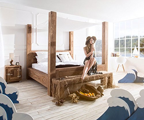 holzbett yoga sheesham natur 180x200 cm massivholz himmelbett by wolf. Black Bedroom Furniture Sets. Home Design Ideas