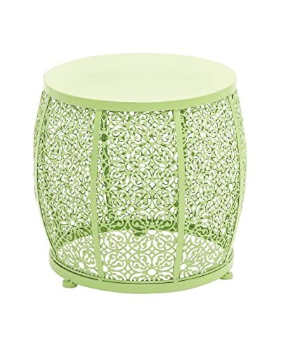 Green Metal Drum Accent Table