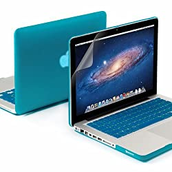 GMYLE(R) 3 in 1 Aqua Blue Matte Rubber Coated See-Thru Hard Case Cover for Aluminum Unibody 13.3 inches Macbook Pro - with Aqua Blue Silicon Keyboard Protector - 13 inches Clear LCD Screen Protector -