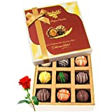 Chocholik 9Pc Sweet Crunch Chocolate Box With Red Rose Valentine Day Gifts