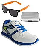 Spot On Men's White Royal Blue Running Shoes With Lotto Sunglasses And Cardholder Combo UK-10
