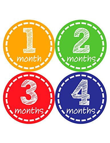 Months in Motion 023 Monthly Baby Stickers Gender Neutral Months 1-12