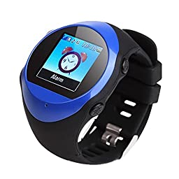 GPS Tracker Smart Watch For Teenage Elderly A-GPS Locator SOS Emergency Push Smart Watch Alarm Clock Support SMS(Blue)