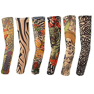Hmxpls 6pcs Set Body Art Arm Stockings Slip Accessories Fake Temporary Tattoo Sleeves, Tiger, Crown Heart, Skull, Tribal Shape