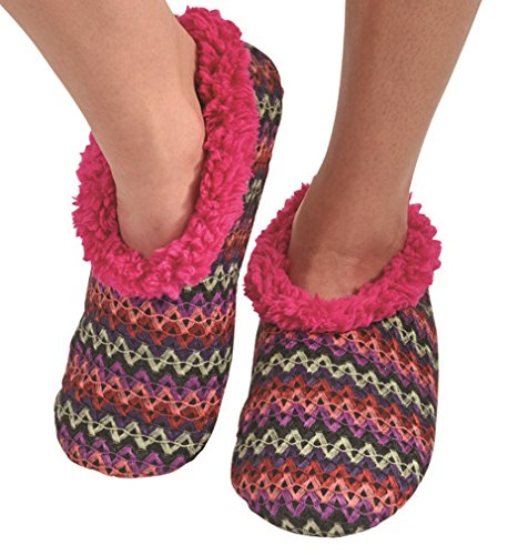 Snoozies Womens Wiggle Stripe Comfy Soft Fleece Slipper Socks - Purple, Medium (Walmart Women Clothing compare prices)