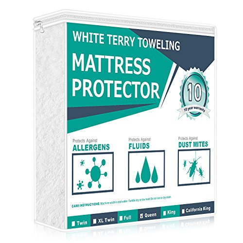 Best Price! Adoric(TM) Queen Size Hypoallergenic Waterproof Mattress Protector 100% Cotton Terry Sur...