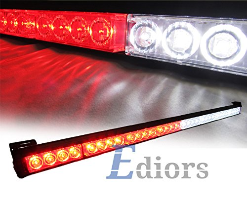 """Ediors Vehicle Auto Truck 35.5"""" Led Hazard Traffic Adviser / Advising Emergency Warning Tow Strobe Light Bar With Suction Cup - White/Red"""