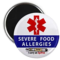 SEVERE FOOD ALLERGIES EpiPen Allergy Medical Alert 2.25 inch Fridge Magnet by Creative Clam
