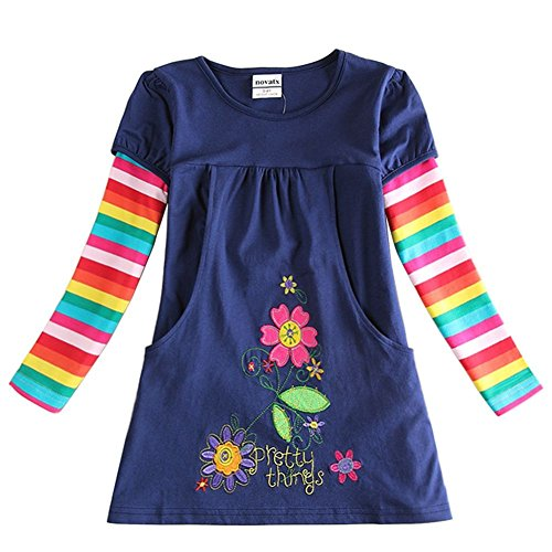 Novatx Long Sleeves Cotton Girls Dress H5802 Navy (5/6y) (Made In China Wholesale compare prices)
