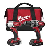 Milwaukee 2697-22CT M18 18-Volt Lithium-Ion Cordless Hammer Drill/Impact Driver Combo Kit (Color: Red)