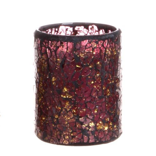 Dfl 3*4 Inch Wine Color Cracks Pattern Mosaic Glass With Flameless Led Candle With Timer,Work With 2 Aa Battery