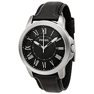Fossil Men's FS4745 Grant Black Leather Watch