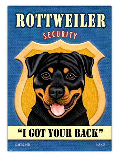 Retro Dogs Refrigerator Magnets - Rottweiler Security - Vintage Advertising Art (Rottweiler Refrigerator Magnets compare prices)