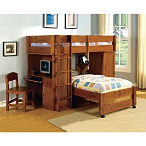 Colonial Vintage Wooden Youth Twin Size Loft Bed Set
