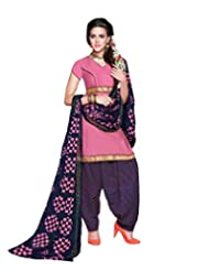 Desi Look Women's Pink Cotton Dress Material With Dupatta
