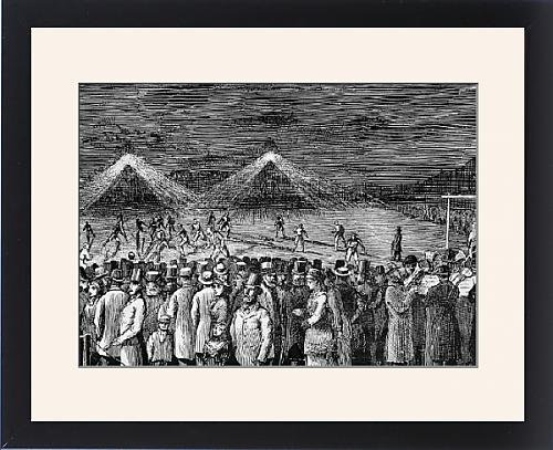 Framed Print Of Football By The New Electric Light At Kennington Oval