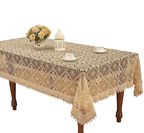 Simhomsen rectangle beige lace tablecloth embroidered for 102 inch table runners