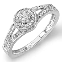 0.25 Carat (ctw) Sterling Silver Round Diamond Ladies Split Shank Engagement Ring 1/4 CT from DazzlingRock