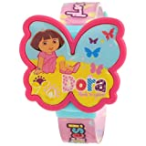Nickelodeon Dora the Explorer Kid's DTE791 LCD Pink Strap Watch with Interchangeable Butterfly Tops ~ Nickelodeon
