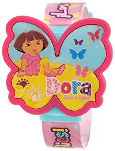 Nickelodeon Dora the Explorer Kid's DTE791 LCD Pink Strap Watch with Interchangeable Butterfly Tops