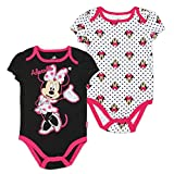 "Disney Baby Girls Minnie Mouse ""Creeper Onesie Bodysuit"" (2 Pack, Black Pink)"